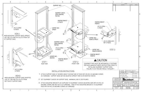 Installation instructions for 24 Telecom Rack Centered Rack Kit